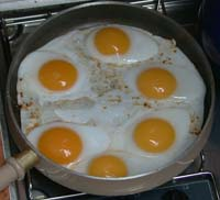 Duck eggs in Missing Link's frying pan